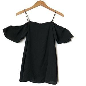ASOS Women's Black Top Cold Shoulder Size 4